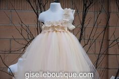 Flower Girl TuTu Dress.Ivory light Pink Beige by giselleboutique