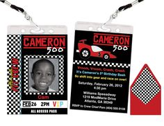 Race Car Pit Pass Invitation Personalized FREE by ModMarie on Etsy, $3.75