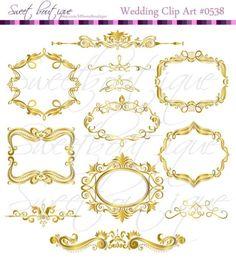 GOLD Digital Frames Scrapbook Border Clipart Ornate Flourish Vintage Classic Wedding Invitation embellishment Square 0538
