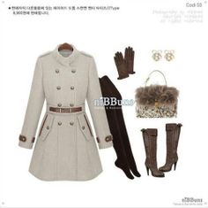 Cream women fashion wool Slim lapel double-breasted long trench coat jacket