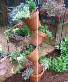 zavesny květináč, kaskádový květináč, patrová knětináč , jak vyrobit patrový květináč, návod závěsný květináč, patrové květináče, zahradní květináče, jahodník, měsíční jahody, bylinkáč