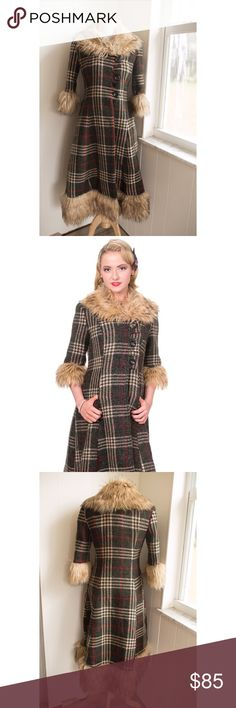 Vintage Inspired Autumn Plaid Coat with Fur NWT This is a brand new with tags, vintage inspired plaid coat with fur details from Banned. Perfect for fall/autumn. It's a flattering cut and the pictures do not do it justice! Banned Jackets & Coats