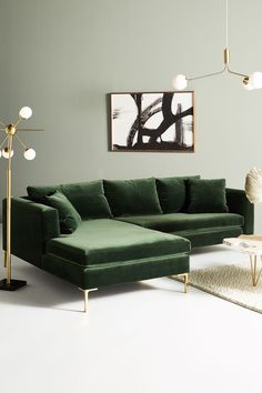 dekoration wohnung Anthropologie Edlyn Petite Two-Piece Chaise Sectional Living Room Green, Living Room Sofa, Home Living Room, Living Room Furniture, Home Furniture, Unique Furniture, Wooden Furniture, Smart Furniture, Design Furniture