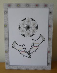 Football - stitched card Card Patterns, Ova, Hand Stitching, Dream Catcher, Football, Christmas, Cards, Soccer, Xmas