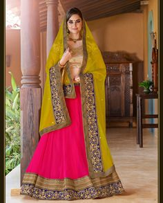 Pink and Golden Lehenga with Blue embroidered borders (Semi-Stitched F – Rutbaa India
