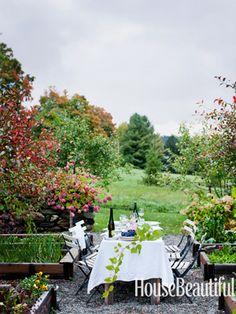 Outdoor garden dining room. Design: Studio Due. Photo: Ditte Isager. housebeautiful.com. #diningarea #garden #outdoorroom