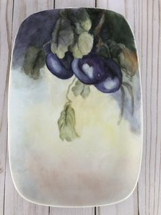 Hand Painted Purple Plum Oblong Serving Dish Platter Oblong | Etsy Serving Plates, Serving Dishes, Vintage Canisters, Hand Painted Plates, Vanity Tray, Flower Plates, Jewelry Dish, Yard Art, Platter