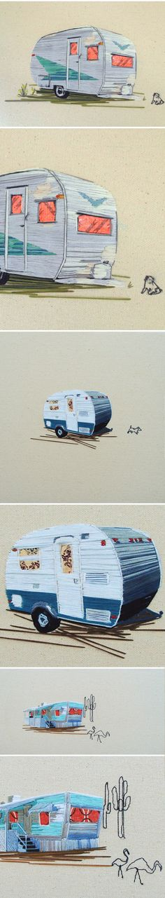 Stephanie K Clark  (embroidered trailers).... Two of my favorite things: embroidery and vintage travel trailers!
