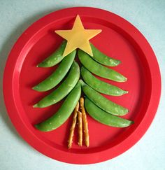 edamame or sugar snaps Christmas tree with cheese, and pretzel sticks.