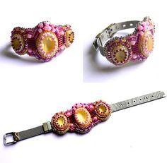 Bracelet citron framboise Swarovski et perles brodées