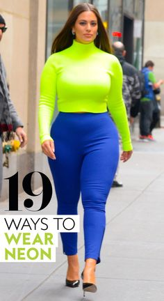 The neon trend is here to stay in Find out how our favorite celebrities are wearing the neon trend. And copy their neon outfit ideas by shopping our look-alike pieces here. Big Girl Fashion, Bold Fashion, Curvy Fashion, Fashion Trends, Fashion Guide, Spring Fashion, Yellow Shoes Outfit, Neon Green Outfits, Curvy Outfits