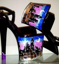 NYC SKYLINE mirror black stiletto glitter platform exotic dancer stripper heels 7. $120.00, via Etsy.