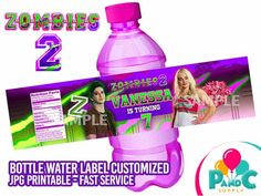 ZOMBIES 2 Bottle Label Design for Birthday Party - Digital File Fast Service 4 hours or less - Disne Disney Birthday, Frozen Birthday Party, Birthday Fun, Zombie Disney, Zombie 2, Zombie Party Decorations, Kids Party Themes, Party Ideas, Zombie Birthday Parties