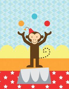Oopsy Daisy Circus Tricks Monkey Canvas Wall Art by Clare Birtwistle, available at #polkadotpeacock. #peacocklove #oopsydaisyart