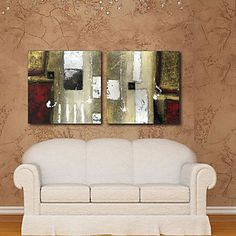 Stretched Canvas Print Art Abstract White Pigment Set of 2 – USD $ 59.99