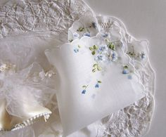 Something Blue Wedding Handkerchief Gift for a Bride Vintage Hanky from the 1950's Blue Embroidery Wedding Keepsake