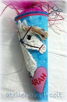 Schultüten - Schultüte Pferd Himmelblau mit Kissen - ein Designerstück von annicolt bei DaWanda
