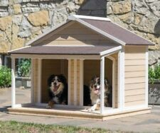 Dog House Wood Insulated Duplex Pet Covered Porch Asphalt Roof Dog Training House Training Dogs Outdoor Dog House