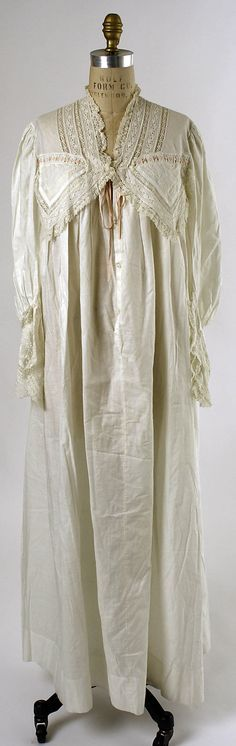 Nightgown  Date: 1880s Culture: American or European Medium: cotton  Accession Number: C.I.40.110.8  Metropolitan Museum of Art