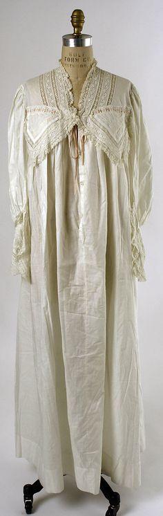 Nightgown  Date: 1880s Culture: American or European Medium: cotton  Accession Number: C.I.40.110.8  Metropolitan Museum of Art