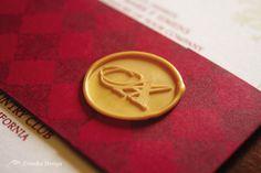 Red and gold wedding invitation, from Zenadia Design.  www.zenadiadesign.com