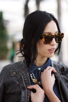 In line with the 2013 geometric shapes trend, Rachel Nguyen of ThatsChic.net is wearing the very cool Karen Walker Number Two shades, which look absolutely fantastic on her! Available at SunglassCurator.com