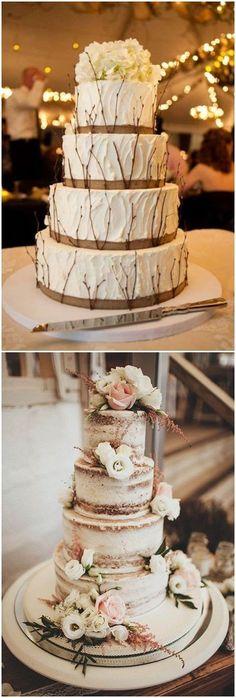 25 Must See Drop-dead Rustic Wedding Ideas - wedding cakes - Wedding Dresses - Gateau Big Wedding Cakes, Floral Wedding Cakes, Amazing Wedding Cakes, Wedding Cake Rustic, Elegant Wedding Cakes, Wedding Cake Designs, Wedding Cake Toppers, Rustic Weddings, Trendy Wedding