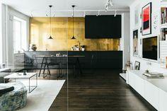 Keuken keuken achterwand behang behangen goud kea