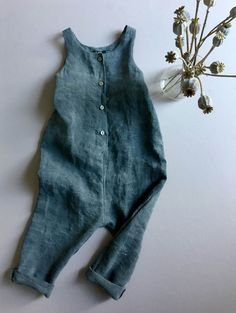 """You Are Small...Unisex Baby/Toddler One Peice Romper Jumpsuit in """"Bashed Grey Linen"""""""