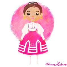 México colores y diseños de sus trajes típicos Nuevo León