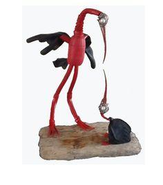 Saampies/ Together,    Mariëlle Buckinx 2013,    skulls/rope/rubber/wood,    50cm