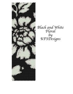 free peyote stitch patterns | Peyote Stitch Cuff Bracelet Pattern - Black and White Floral (Buy 2 ...