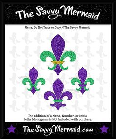 The top fleur de lis in this set has been popular because it is so easy to use, is this Fleur De Lis design! You can cut or color the entire design in one color, or 2, 3 or 4. This now includes 4 versions of the Fleur de LisLots of options on how to use it! Great for Mardi Gras