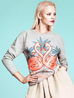 H and M Spring 2013 flamingo sweatshirt