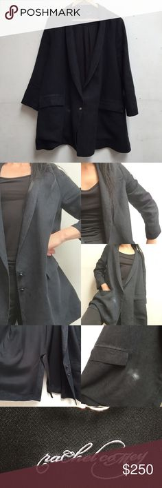 Rachel Comey Linen Club Jacket sz 4 Beautiful black linen, lined, blazer style with narrow top, very A line look, not boxy. Small white spot near right pocket, inner lining small tear, see the photos please. Otherwise it's totally cool! Very New York chic. Rachel Comey Jackets & Coats Blazers
