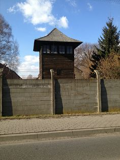 One of the watchtowers of the Auschwitz I camp seen from outside from the camp…