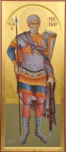 Άγιος Μηνάς / Saint Menas (painted by Christos Fitzios) Byzantine Icons, Byzantine Art, Roman Church, Religious Paintings, Catholic Art, Art Icon, High Art, Saint George, Orthodox Icons