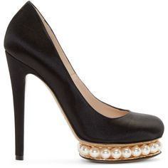 Nicholas Kirkwood Black Satin Casati Pearl Pumps ($880) ❤ liked on Polyvore featuring shoes, pumps, heels, high heels stilettos, heels stilettos, black satin pumps, black platform shoes and black round toe pumps