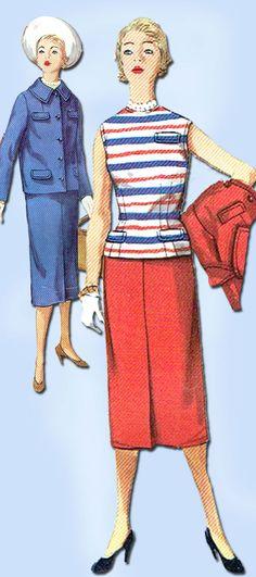 1950s Vintage Simplicity Suit Uncut 1955 SImplicity Sewing Pattern 1002 Size 12