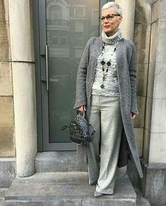 Shades of gray over 50 womens fashion, fashion over 50 fashion, fashion Over 60 Fashion, Mature Fashion, Older Women Fashion, Over 50 Womens Fashion, 50 Fashion, Autumn Fashion, Fashion Outfits, Fashion Trends, Stylish Older Women