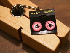 Pink and Black Studs by tammisknickknacks on Etsy