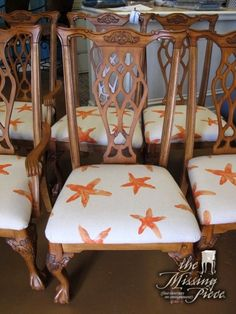 Starfish to match any beachy Floridian abode. Chippendale dining chairs in tan and coral. Set of six.