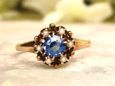 Vintage Sapphire and Pearl Engagement Ring Alternative Engagement Ring 14K Yellow Gold Promise Ring September Birthstone Sapphire Ring!