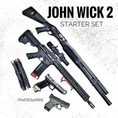 John Wick 2 Weapons Guns, Airsoft Guns, Guns And Ammo, Tactical Equipment, Tactical Gear, Custom Guns, Military Guns, Fire Powers, Cool Guns