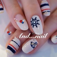 Cute Nail Art Ideas to Try - Nailschick Nautical Nail Art, Beach Nail Art, Beach Nails, Creative Nail Designs, Gel Nail Designs, Creative Nails, Pedicure Nail Art, Gel Nail Art, Art Nails