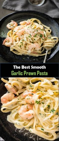 Delicious and healthy family choice special food This Smooth Garlic Prawn Pasta is for every one of those . Prawn Recipes, Healthy Pasta Recipes, Healthy Pastas, Fish Recipes, Vegan Recipes, Creamy Garlic Prawn Pasta, Pasta With Prawns, Kitchen Aid Pasta Recipe, Healthy Family Dinners