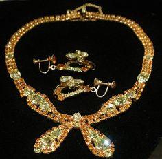 Rhinestone Demi Parure Bib Necklace Earrings Set Rhinestones 1950s Mid Century Hollywood Art Glass Crystals Golden Topaz Lemon Chatons Pears