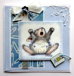 Hi all and welcome to another week on the Simon Says Stamp Challenge ! Thank you for joining us for the Patriotic Challenge . Z Cards, Some Cards, Baby Shower Cards, Baby Cards, House Mouse Stamps, Bunny Images, Mouse Crafts, Bunny And Bear, Penny Black Stamps