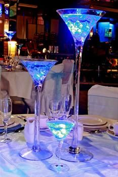 Wedding Centrepieces Martini glass with lights.... O YES!!!!!!!!!