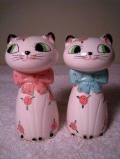 Vtg Salt Pepper Shakers Norcrest Cats w/VOICE BOX WORKS